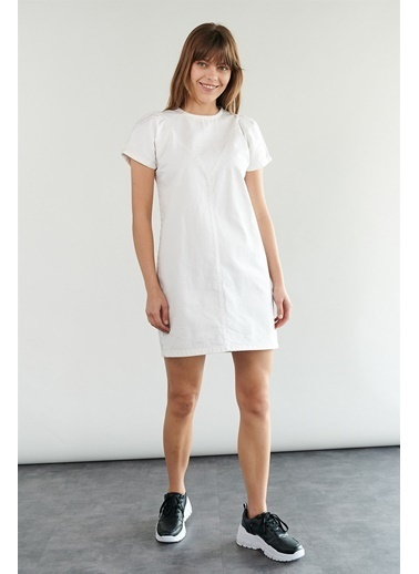 Levure Arkası Fermuar Detaylı Kot Elbise  Beyaz